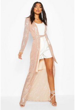 Womens Rose gold Tall Sequin Wrap Kimono