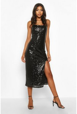 Black Tall Thigh Split Sequin Midi Dress