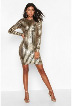 Womens Gold Tall All Over Sequin Mini Dress
