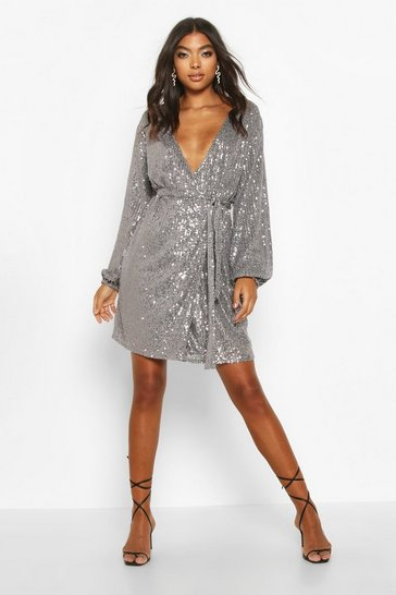 Womens Pewter Tall Belted Sequin Blazer Dress
