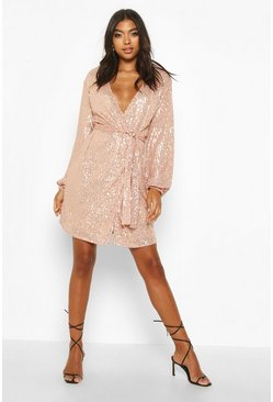 Womens Rose gold Tall Belted Sequin Blazer Dress