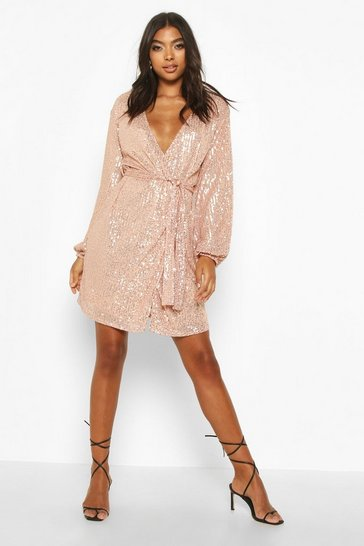 Rose gold Tall Belted Sequin Blazer Dress