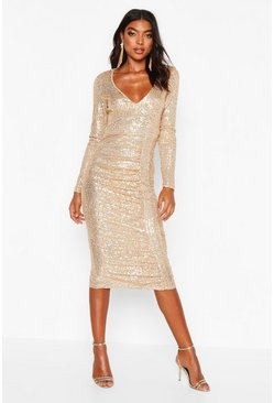 Womens Gold Tall Plunge Ruched Sequin Midi Dress