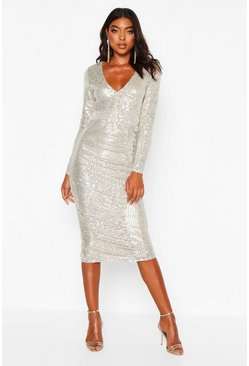 Womens Silver Tall Plunge Ruched Sequin Midi Dress