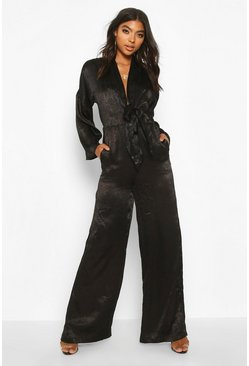 Black Tall Plunge Wide Leg Jumpsuit