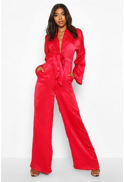 Womens Red Tall Plunge Wide Leg Jumpsuit