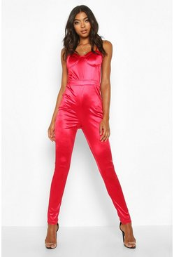 Dam Red Tall Cup Detail Satin Jumpsuit