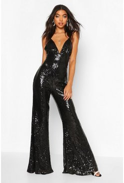 Black Tall Wide Leg Sequin Jumpsuit