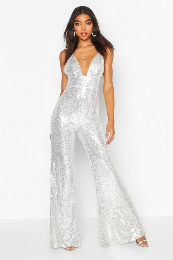 Silver Tall Wide Leg Sequin Jumpsuit