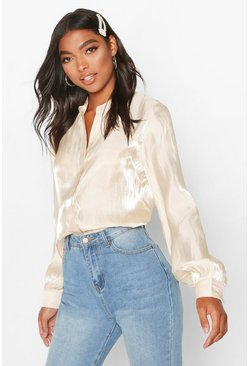 Womens Ivory Tall Deep Cuff Woven Metallic Shirt