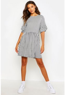 Womens Black Tall Gingham Smock Dress