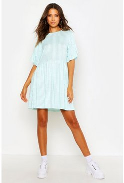 Blue Tall Gingham Smock Dress