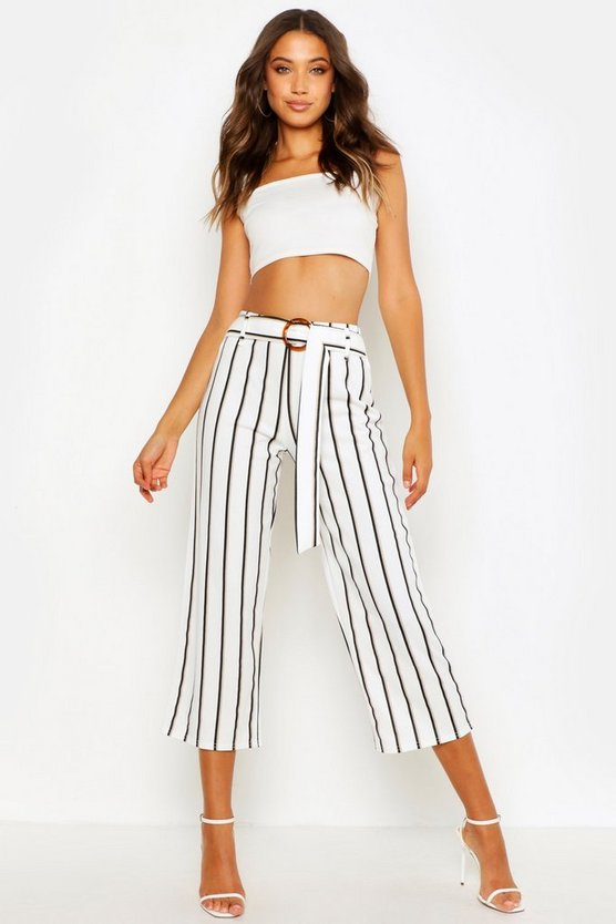 Womens White Tall Buckle Detail Belted Culottes