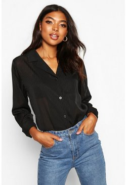 Tall Sheer Stripe Woven Shirt, Black, Donna