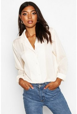 Womens Ivory Tall Sheer Stripe Woven Shirt