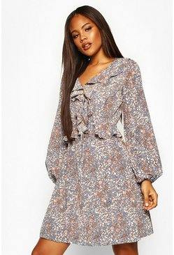 Blue Tall Floral Print Ruffle Smock Dress