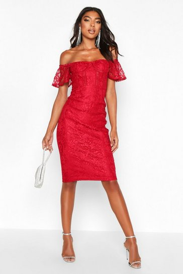 Womens Berry Tall Off The Shoulder Lace Midi Dress