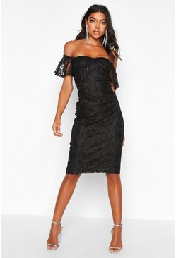 Black Tall Off The Shoulder Lace Midi Dress
