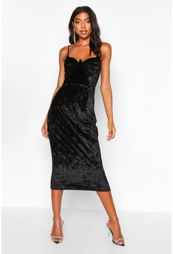 Black Tall Cup Detail Velvet Midi Dress