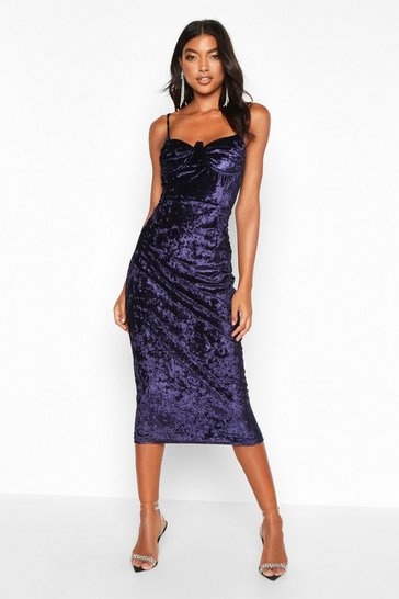 Womens Navy Tall Cup Detail Velvet Midi Dress
