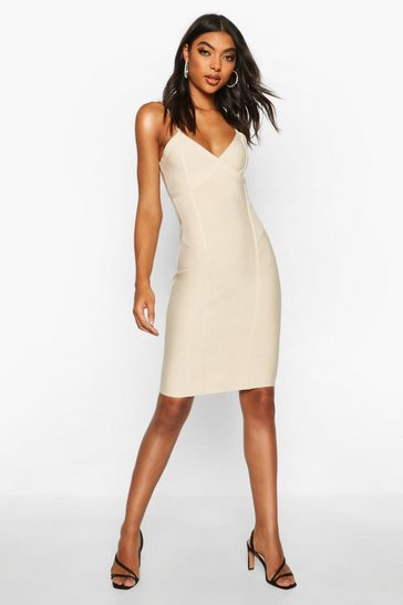 Womens Nude Tall Sculpting Bandage Mini Dress