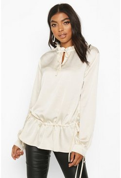 Womens Ivory Tall Lace Up Woven Blouse