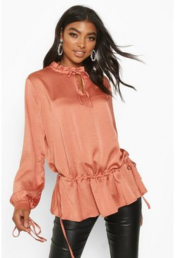 Womens Rose Tall Lace Up Woven Blouse