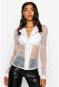 Womens White Tall Organza Mesh Blouson Sleeve Shirt