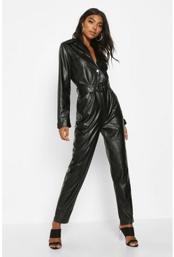 Womens Black Tall Leather Look Boilersuit