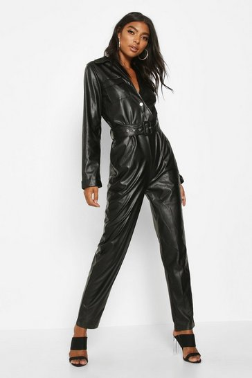 Black Tall Leather Look Boilersuit