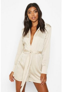 Stone Tall Blazer Playsuit
