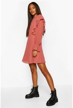 Womens Rose Tall Dobby Mesh Ruffle Smock Dress