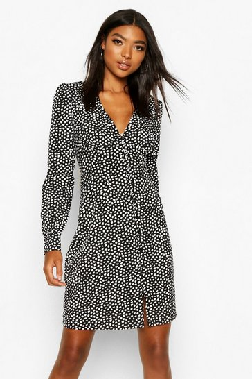 Black Tall Polka Dot Button Through Mini Dress