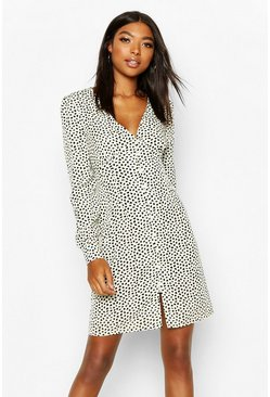 Ivory Tall Polka Dot Button Through Mini Dress