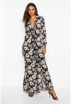 Womens Black Tall Floral Print Maxi Dress