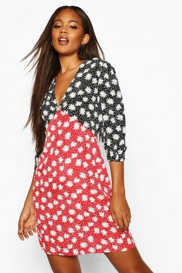 Red Tall Contrast Print Puff Sleeve Dress