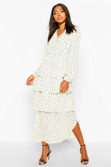 Womens White Tall Polka Dot Ruffle Skirt Midi Dress