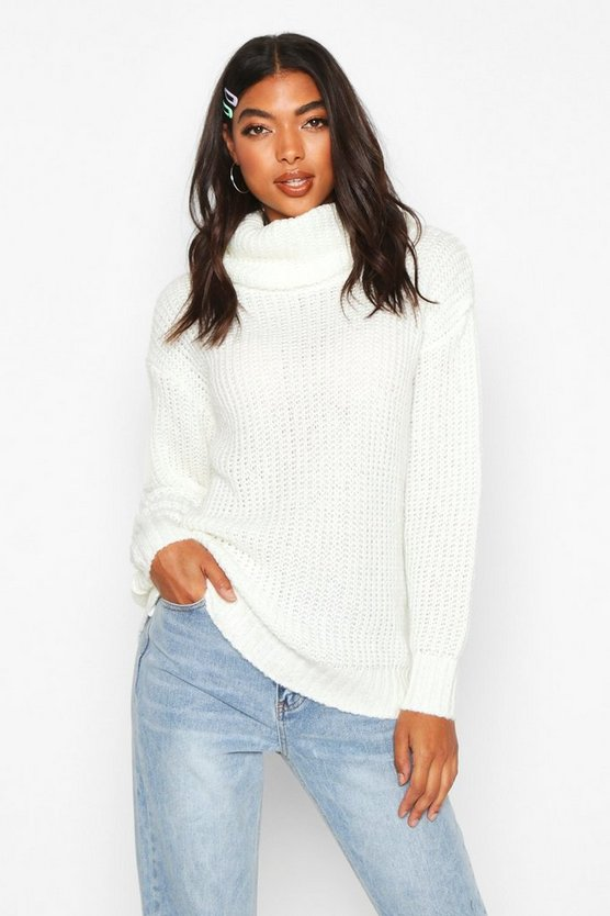 Ivory Tall Oversized Roll Neck Jumper