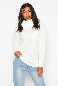 Tall Oversized Roll Neck Jumper, Ivory, Femme