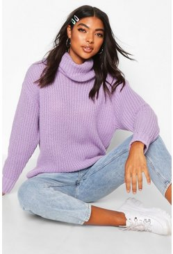 Tall Oversized Roll Neck Jumper, Lilac, Femme