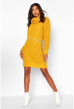 Tall Roll Neck Jumper Dress, Mustard, Femme