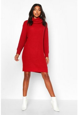 Tall Roll Neck Jumper Dress, Red