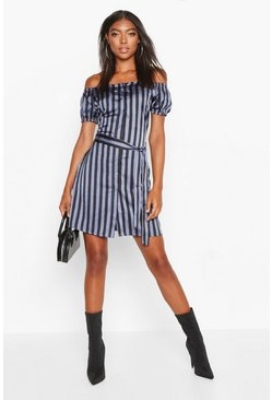 Blue Tall Off The Shoulder Belted Shirt Dress