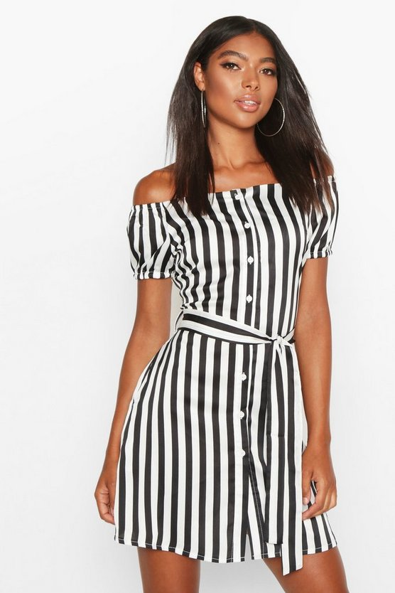 Ivory Tall Off The Shoulder Belted Shirt Dress