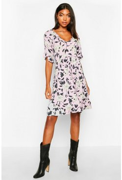 Dam Lilac Tall Plunge Ruffle Floral Smock Dress