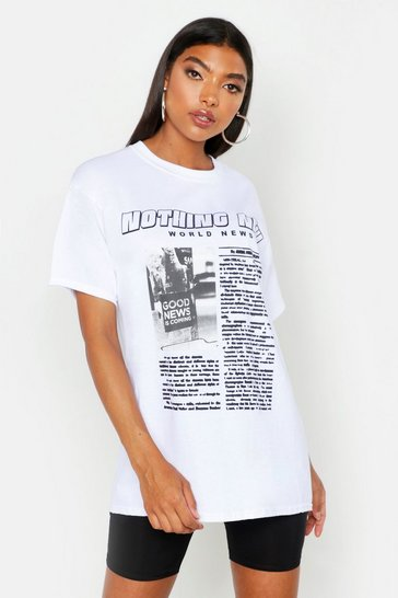 Womens White Tall Nothing New Slogan T-Shirt