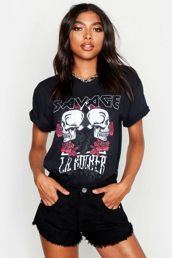 Womens Black Tall Savage Skulls Band T-Shirt
