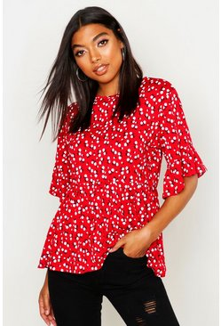 Tall Ditsy Floral Smock Top, Red