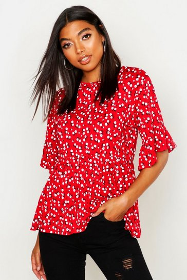 Womens Red Tall Ditsy Floral Smock Top