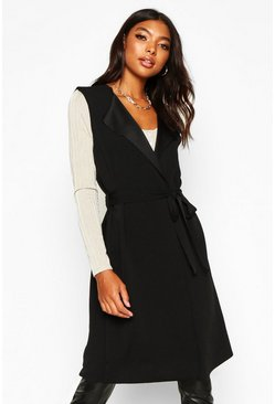 Womens Black Tall Belted Sleeveless Duster